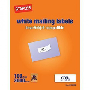 Staples White Mailing Labels For Laser Printers 1 X 2 62 Inch 100 Sheets 3000