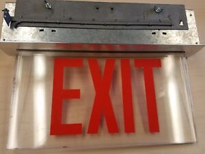 Vintage Recessed Industrial Lighted Exit Sign Steel glass aluminum
