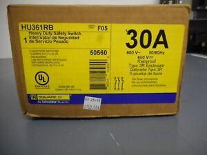 Square D Hu361rb 30 Amp 600 Volt Outdoor Non fusible Safety Switch Disconnect
