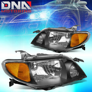 For 2001 2003 Mazda Protege Black Housing Amber Side Replacement Headlight Lamps