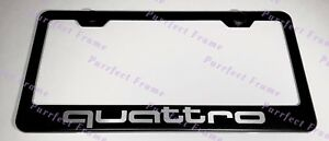 Audi Quattro Sport Black Stainless Steel License Plate Frame W Bolt Caps