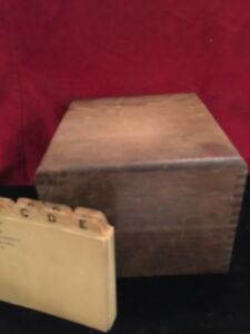 Oak File Box Holds Original Cards Incl Primitive Desk Office Dovetail Vintage