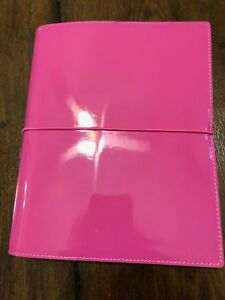 Filofax A5 Patent Domino Hot Pink With Extras