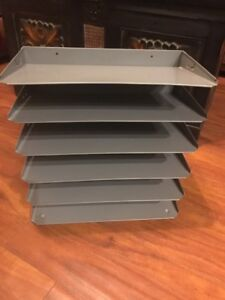 Vintage Metal Industrial 6 Slot Letter Paper File Tray Organizer Antique Nice