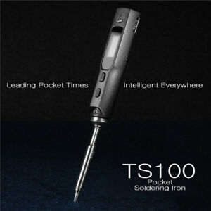 Mini Portable 40w Programmable Ts100 Electric Soldering Iron Digital Lcd Dc5525