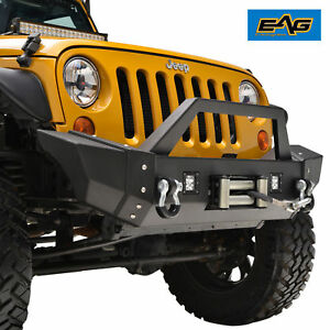 07 18 Jeep Wrangler Jk Heavy Duty Front Bumper With Led Lights Winch Plate