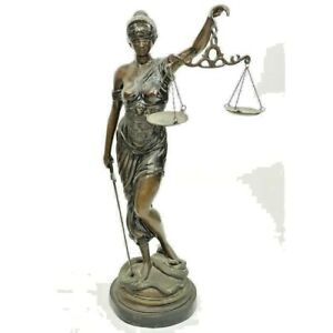 Striking Large Art Nouveau Bronze Sculpture Of Blind Justice Early 1900s