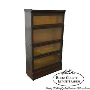 Globe Wernicke Antique Mahogany 4 Section Barristers Stacking Bookcase