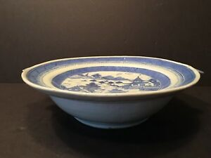 Antique Chinese Blue And White Warming Dish 19th Century