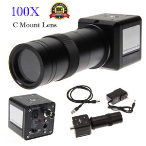 100x Digital Industrial Ccd Microscope Camera Bnc Av Tv Video Zoom c Mount Lens