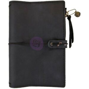 Prima Personal Traveler s Journal W Zippered Pocket Night Fall Genuine Leather