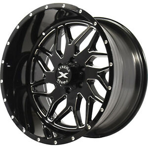 22x12 Black Milled Xtreme Force Xf2 Wheels 6x135 44 Lifted Fits Lincoln