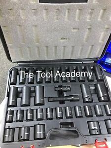 sbs Sealey Air Impact Wrench Socket Set 34 Piece 1 2 Square Drive 10 32mm