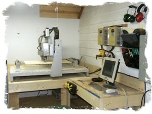 Cnc Techno Isel Table W 4 Heads Colombo Routers Shaft Cutter Cue Building