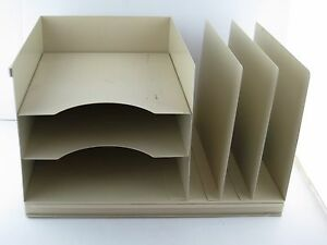 Beige Metal 3 Level Paper Tray 3 File Tray Industrial Atomic Steampunk Vtg