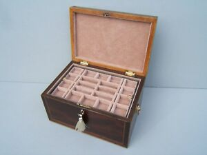 Lovely Georgian Inlaid Mahogany Antique Jewellery Box Fab Interior