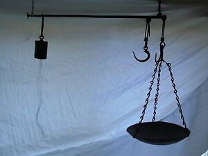 Antique Steelyard Balance Beam Hanging Scale With Pan And Arm 18th Century Yard