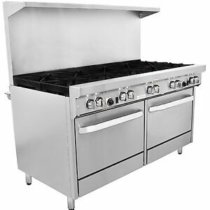 60 Natural Gas Restaurant Range Stove 10 Burners 2 Ovens Stainless Steel