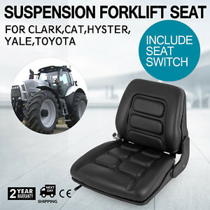 Universal Vinyl Forklift Suspension Seat Fit Clark Hyster Toyota Good Switch New