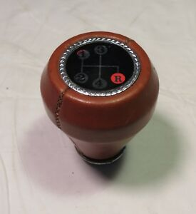 Vintage Amco Brown Leather 4 Speed Gear Shift Knob Good Condition