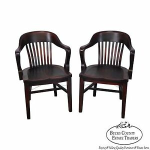 Antique Pair Of Bank Of England Arm Chairs By The Sikes Company