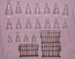 Lot Of Chemistry Glassware Pyrex Flask 4980 125ml 250ml 500ml Test Tubes 5320