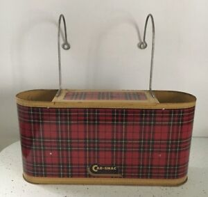 Vintage 1950 S Car Snac Plaid Thermos Set Classic Car Accessory 50 S Camping