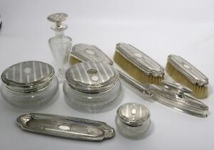 Sterling Silver Vanity Dresser Set By William Kerr 9 Pieces No Monogram