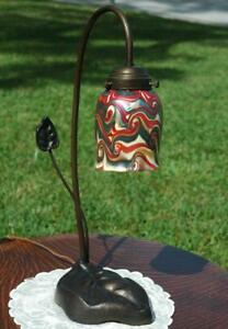 Antique Bronze Lamp With Durand Style Art Glass Shade And Lilly Pad Base