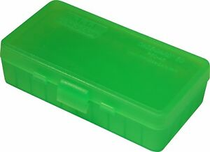 NEW MTM 50 Round Flip-Top 404510MM Cal Ammo Box - Clear Green