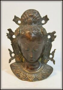Exquisite Bronze Wall Mask Of Kwan Yin