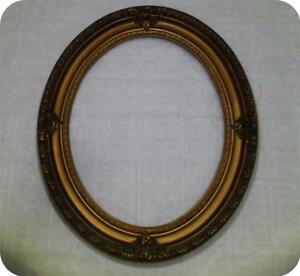 Antique Vtg Italian Gold Oval Wood Gesso Picture Frame