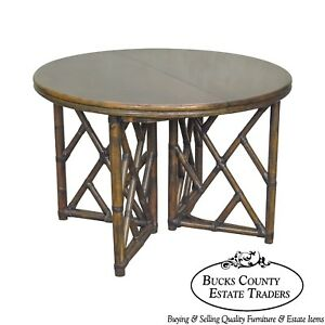 Ficks Reed Round Rattan Dining Table W 2 Leaves