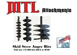 Mtl Attachments 48 X 12 Skid Steer Hd Auger Bit W 2 Hex free Shipping