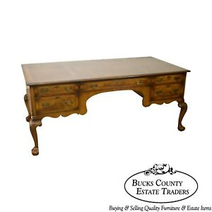 Chippendale Style Custom Quality English Burl Wood Executive Desk By Tibbenham