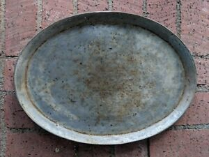 Antique Early 1900 S Solid Copper Hand Made Persian Oval Tray With Tin Coating