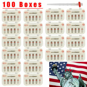 100pack Dental Fiber Post Resin Screw Thread Quartz Material Red Ring Drills Usa