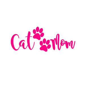 Cat Mom V3 7 Hot Pink Vinyl Decal Window Sticker