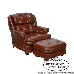 Quality Oxblood Tufted Leather Stationary Club Chair W Ottoman By Youngs