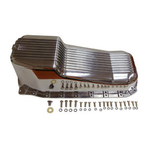 Finned Polished Aluminum Oil Pan Passenger Side For 1986 up Sbc Chevy 283 400 V8