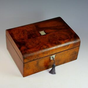 19th C Burl Wood Veneer Sewing Box With Contents And Key