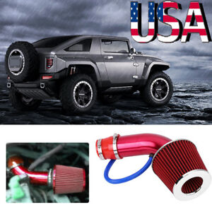 Car Cold Air Intake Filter Alumimum Induction Kit Pipe Hose System Red Universal