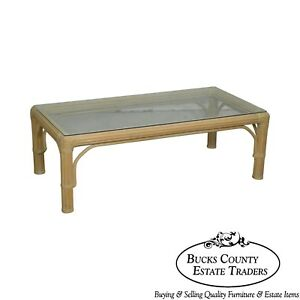 Mcguire Style Glass Top Rectangular Rattan Coffee Table
