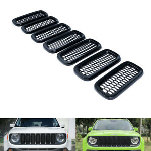 Exterior Gloss Black Grill Mesh Grilles Insert Guard Cover For Jeep Renegade ya