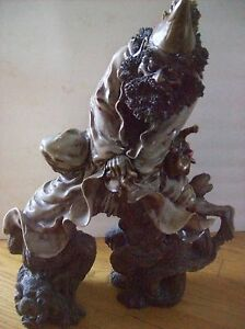 Chinese Porcelain Sculpture Old Man On Dragon