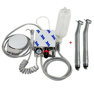 Portable Dental Turbine Unit Air Compressor 2 fast High Speed Handpiece 4hole