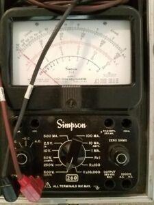 Simpson 260 Volt ohm milliammeter Series 7 With Test Leads Used