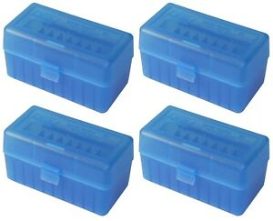 NEW MTM 50 Round Flip-Top 220 Swift 243 308 Win Ammo Box - Clear Blue (4 Pack)