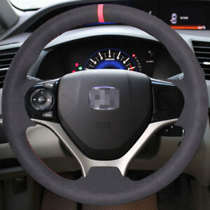 Black Suede Steering Wheel Cover Diy Sew On Wrap For 9th Honda Civic 2012 2015
