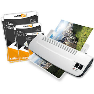 Hot Cold Thermal Laminator Machine 3 pack Laminating Pouches Portable Warms Up